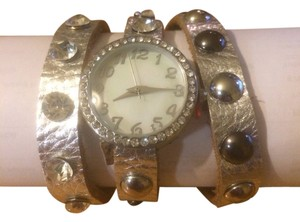 Other Ladies Silver Rhinestone Leather Watch