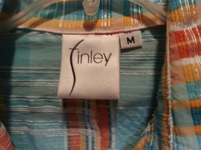 Finley Button Down Shirt Blue Orange and white