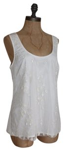 Anthropologie Embellished Beaded Night Out Top IVORY