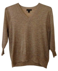 J.Crew Metallic Sparkle Gold V-neck Sweater
