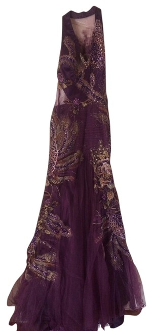 Item - Purple with Peacock Accents Long Formal Dress Size 12 (L)
