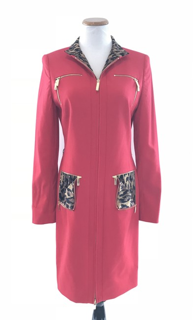 Item - Red with Leopard Zip Work/Office Dress Size 8 (M)