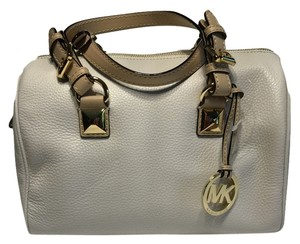 Michael Kors Grayson Leather Handbag Satchel in Vanilla
