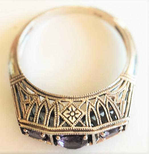 Other Victorian Styled Three Stone Ametyst 925 Sterling Silver Filigree Ring 6