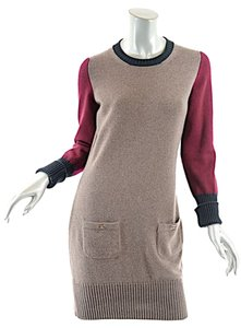 Chanel short dress Taupe, Burgundy, Forest Green Cashmere on Tradesy