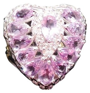 Beautiful Valentine Natural Pink Amethyst and Topaz Heart Shaped RIng 5.5