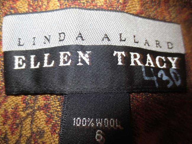 Ellen Tracy Linda Allard 100% Wool Set Paisley Pattern Gold, Rust, Brown Blazer