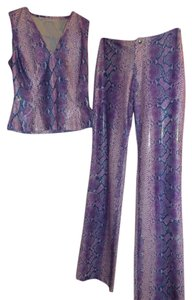 Vertigo Paris Vertigo Paris Purple Snakeskin Two-Piece Blouse & Pant Set