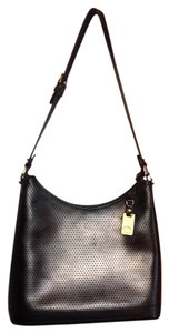 Dooney & Bourke Hanging Brass Logo Perforated Adjustable Long Strap. Shoulder Bag