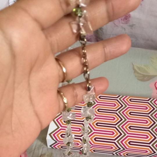 vintage, free people, anthropology style clear quarts peridot beaded necklace