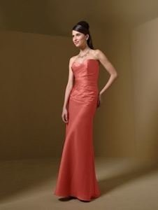 Alfred Angelo Orange Satin Style 7041 Burnt Formal Bridesmaid/Mob Dress Size 4 (S)
