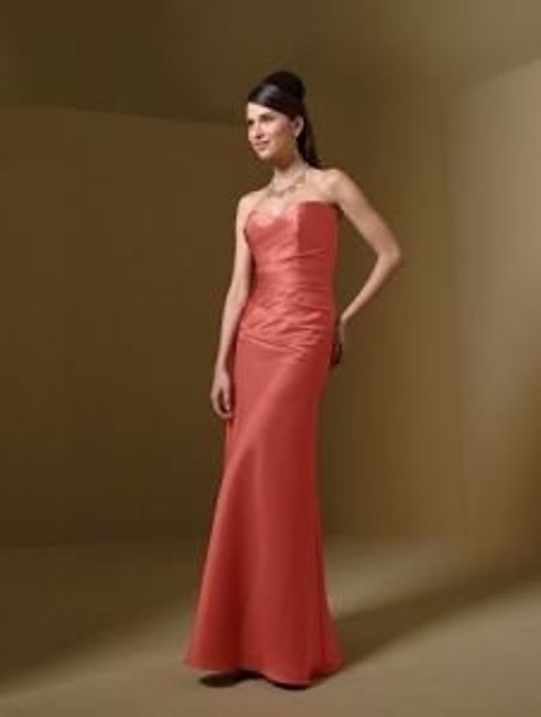 Item - Orange Satin Style 7041 Burnt Formal Bridesmaid/Mob Dress Size 4 (S)