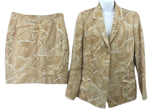 Preload https://img-static.tradesy.com/item/8157025/brown-print-cotton-blend-44-made-in-france-skirt-suit-size-14-l-0-1-650-650.jpg