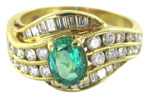 18 karat yellow gold 18k ring emerald diamond wedding band vintage