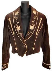 Cripple Creek Western Cropped Leather Suede brown Leather Jacket