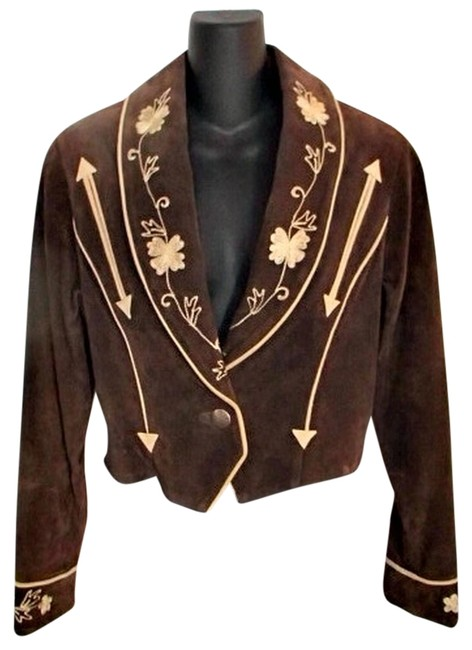 Cripple Creek Western Cropped Leather Suede Classic brown Leather Jacket