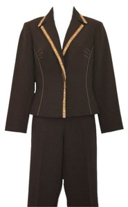 Alberto Makali ALBERTO MAKALI TRIMMED SINGLE BREASTED 2-PC. BROWN PANT SUIT 2