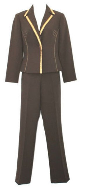 Alberto Makali ALBERTO MAKALI TRIMMED SINGLE BREASTED 2-PC. BROWN PANT SUIT 2 Image 3