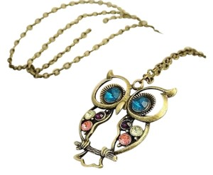 New Owl Pendant Necklace Antiqued Gold Crystals J1471 Summersale