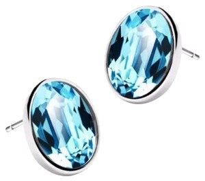 Other New 14K White Gold Filled Blue Crystal Stud Earrings J1472