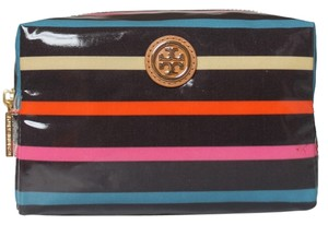 Tory Burch $78+TAX BRAND NEW WITH TAGS BRIGITTE MEDIUM COSMETIC BAG CLASSIC STRIPE MAKEUP CASE POUCH