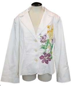 Terry Lewis Cotton Embroidered Jacket WHITE Blazer