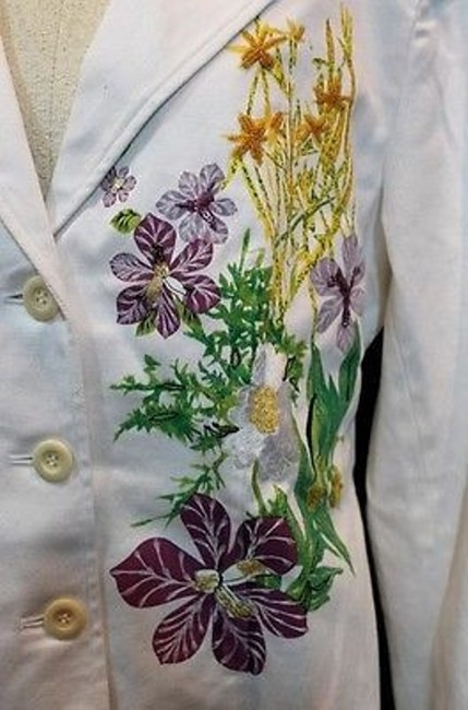 Terry Lewis Classic Luxuries Embroidered Jacket WHITE Blazer Image 1