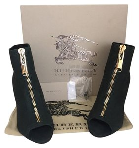 Burberry Leather Peep Toe New Green Boots