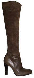 Max Mara Suede Leather Over-the-knee Thigh High Taupe Boots