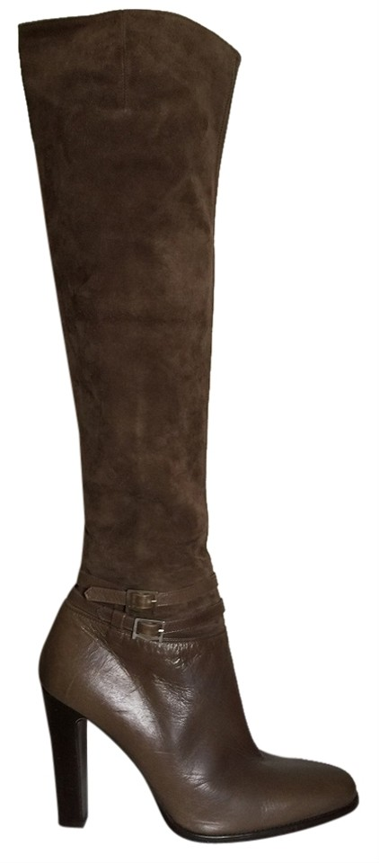 Max Mara Taupe Over Boots/Booties The Knee Suede Leather Boots/Booties Over 65029b