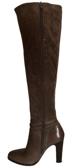 Max Mara Suede Leather Over-the-knee Thigh High Luxury Taupe Boots