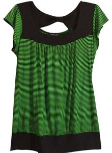 Fleurish Striped Stretchy Plus-size Top Black/Green