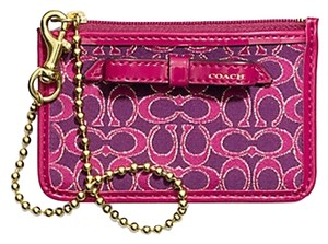Coach COACH F50322 WAVERLY SIGNATURE PRINT COATED CANVAS ID SKINNY SILVER/NAVY/PINK