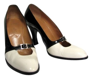 Hermès Patent Leather Black and White Pumps