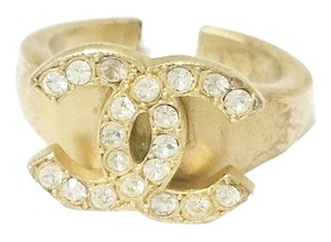 Chanel Authentic Chanel 18K Gold Plated CC Rhinestone Ring