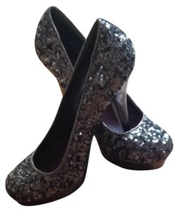 Madden Girl Sequin Silver Sparkle Bling Silver Sequin Platforms