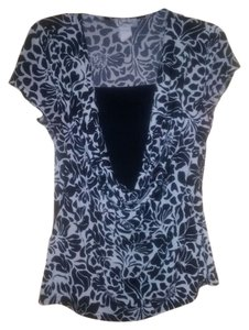 Carducci Work Wear Office Wear Cowl Neck Top Black and White
