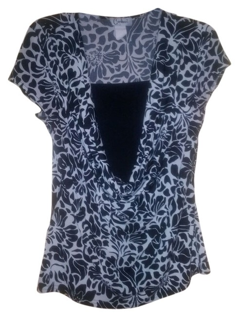 Item - Black and White Work Wear Office Wear Cowl Neck Blouse Size 14 (L)