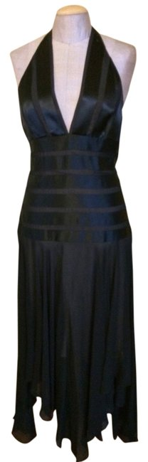 BCBGMAXAZRIA Satin Designer Backless Halter Evening Dress