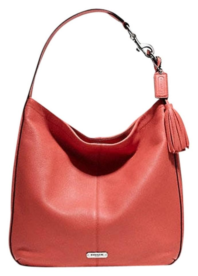 ... official store coach large red shoulder tote purse sienna orange  reddish color leather hobo bag d44a9 ... 1a3a9b35094e1