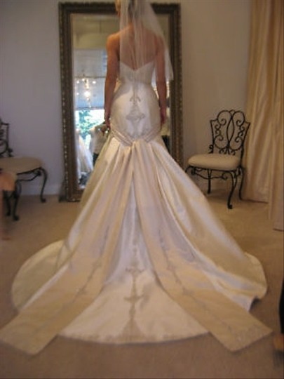 Ivory & Champagne Dutchess Satin Swarovski Crystals Feminine Dress Size 4 (S)