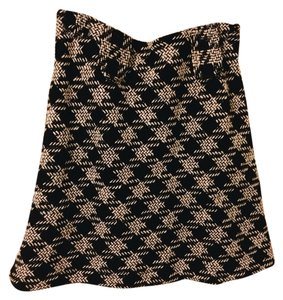 Lili Bleu Houndstooth Wool Mini Skirt black and white