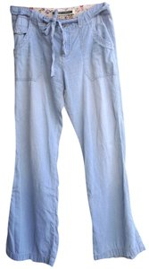 Free People Denim Drawstring Cotton Trouser/Wide Leg Jeans-Light Wash