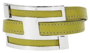 Hermès Hermes Vert Anis Buffle Leather Double Tour Leather H Bracelet