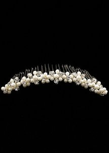 David's Bridal Silver Comb with Pearl Clusters Hair Accessory