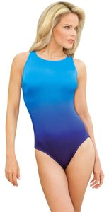 beaf53d4d6 Longitude SWIMSUIT 12 NWT LONGITUDE HI NECK BLUE OMBRE
