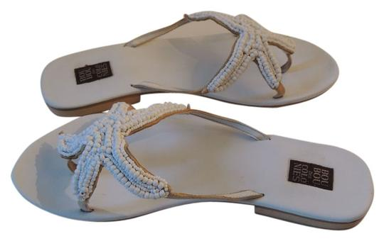 Bou Bou Des Colonies White Beaded and Leather Sandals