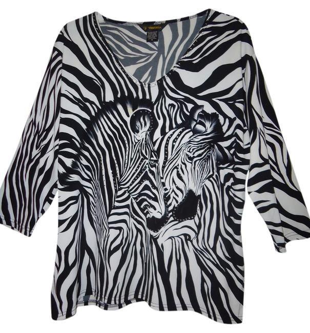 Valentina Light Weight Safari Travels Well Goes Anywhere Comfortable Top Black & White