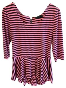 Spoiled Striped Belt Loops T Shirt pink and black
