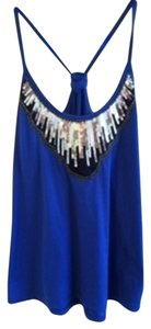 Charlotte Russe Sequin Sparkle Flowy Top blue and white striped